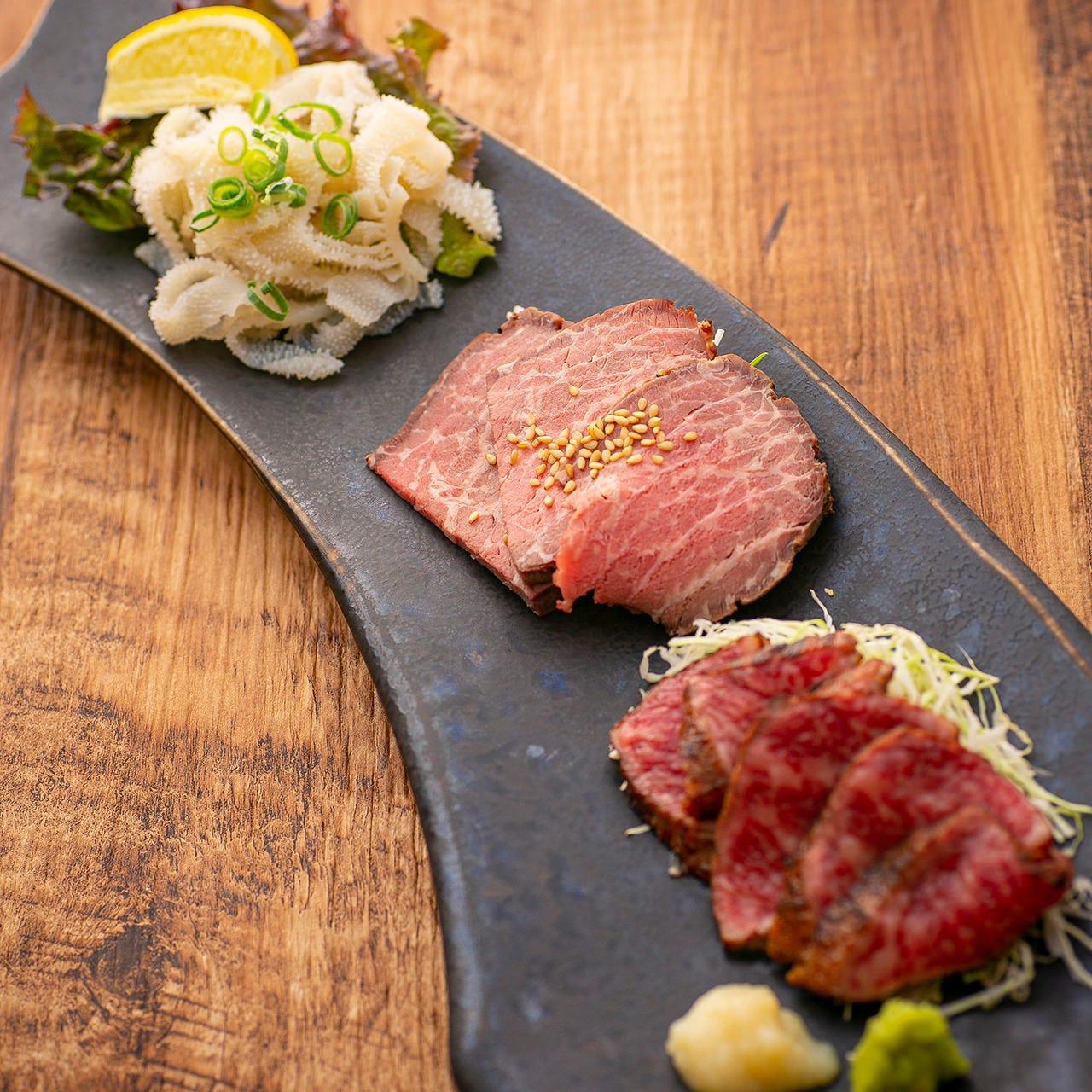 【お料理のみ】厳選肉の焼肉に選べるメイン料理を満喫。肉刺や肉料理も楽しめる『満足コース』[全7品]