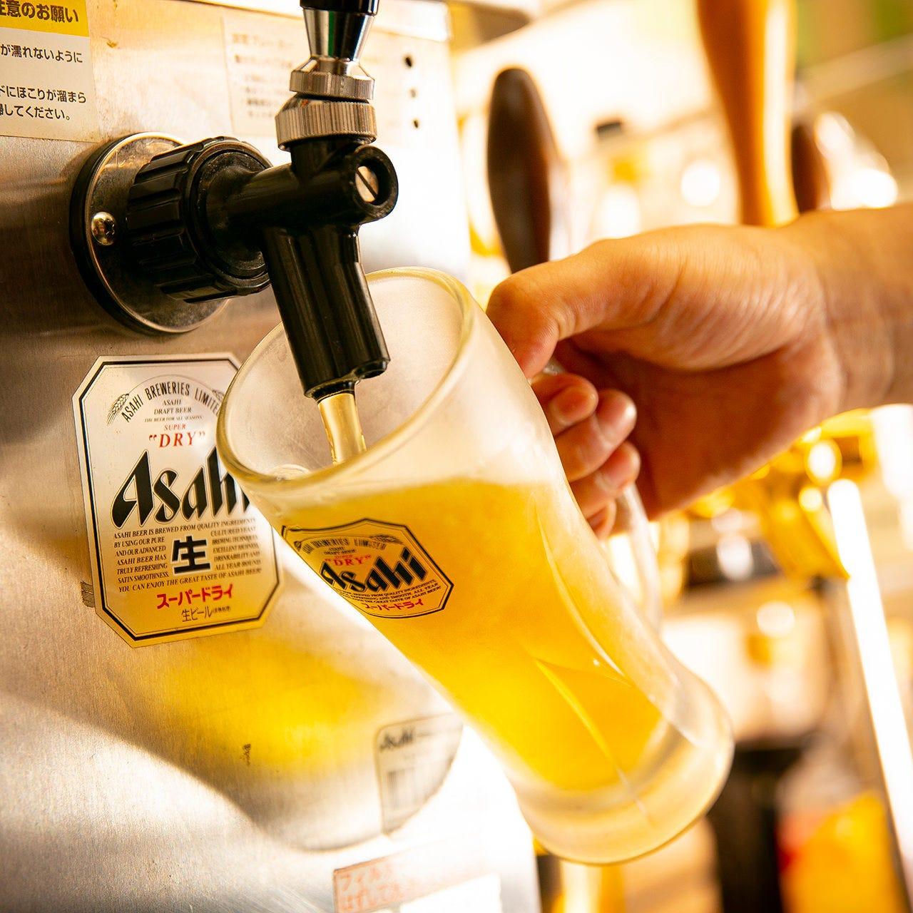 爽快なビールやハイボールで乾杯!