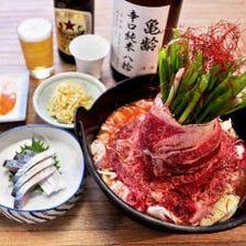 米徳店長が高さにこだわる肉鍋。