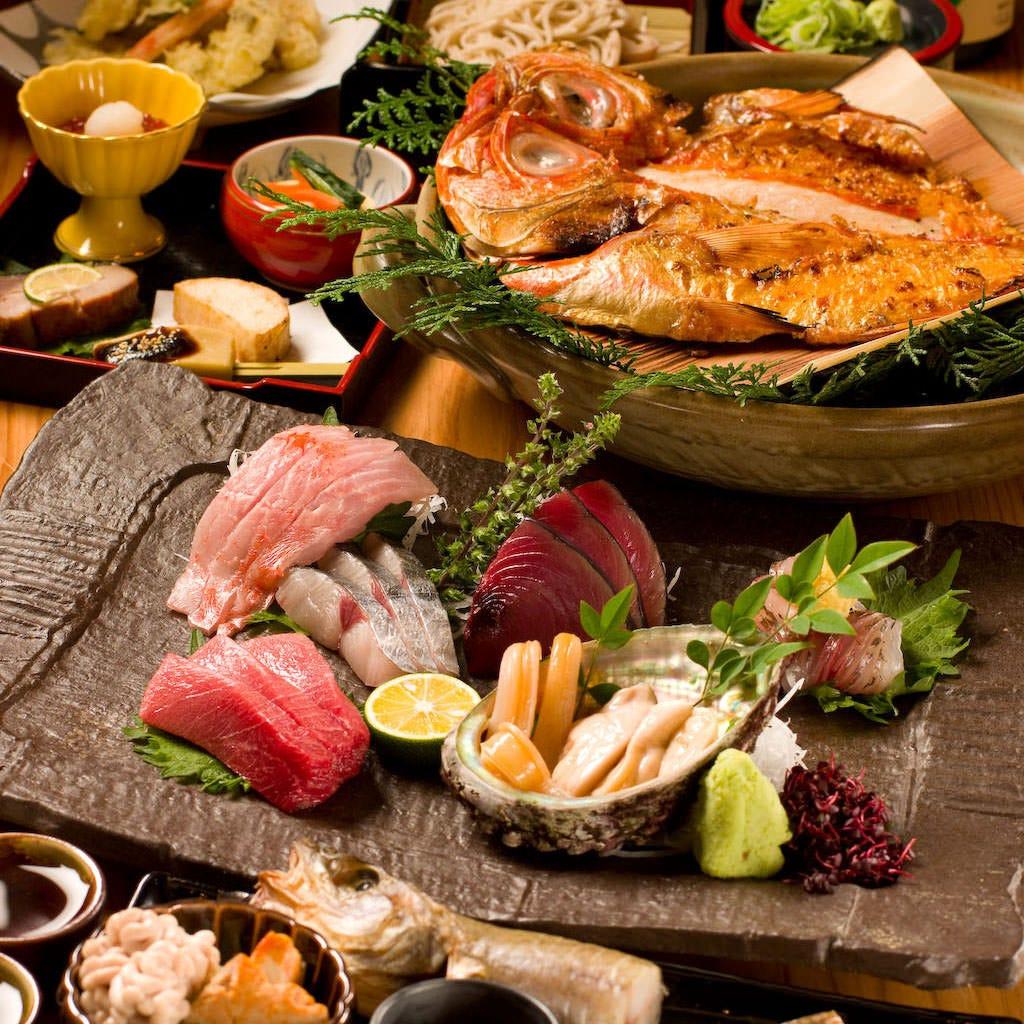 豪華贅沢お任せコース 【館山船形港より毎日直送鮮魚と季節料理など全7品 お飲み物込みプラン! 】