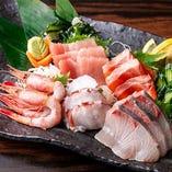朝〆鮮魚の5点盛り合わせ