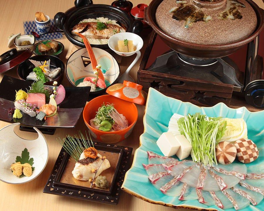鯛・季節のお造り・天麩羅等を堪能できる和食料理。