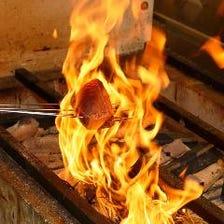 燻香や炭火の音が食欲を掻き立てる