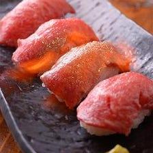 ライブ感を満喫、飛騨牛の炙り寿司
