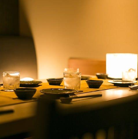 雰囲気抜群のゆったり個室でお楽しみ下さいませ。