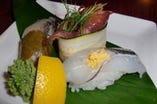 大島桜葉の桜鯛 ホタルイカのアーリオオーリオ 紀州さより