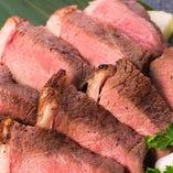 希少部位イチボ肉のロゼステーキ!!ワインをお供にどうぞ