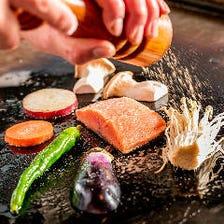 北海道食材×鉄板焼きのライブ感
