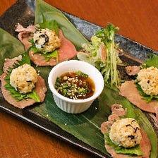 牛タンと雲丹飯(お寿司仕立て)