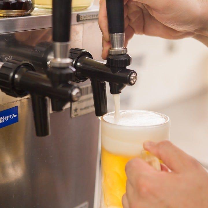 圧倒的人気!三位一体ビールをどうぞ