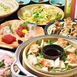 新鮮な魚介と季節の食材をふんだんに使用したコースを各種取り揃えております。