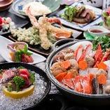 新鮮な魚介もりだくさんの鍋コース。