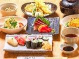 新登場!朝次郎御膳。 刺身に天ぷらと握り寿司がついた贅沢御膳です。