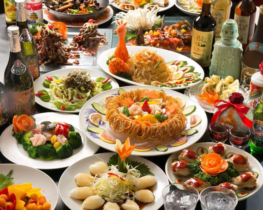【贅沢中華コース】フカヒレ、アワビ、魚焼鍋、北京ダック付の贅沢なコース<2.5時間飲み放題付>