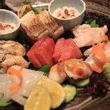 本日の昼網のお魚と穴子3種の盛り合わせ