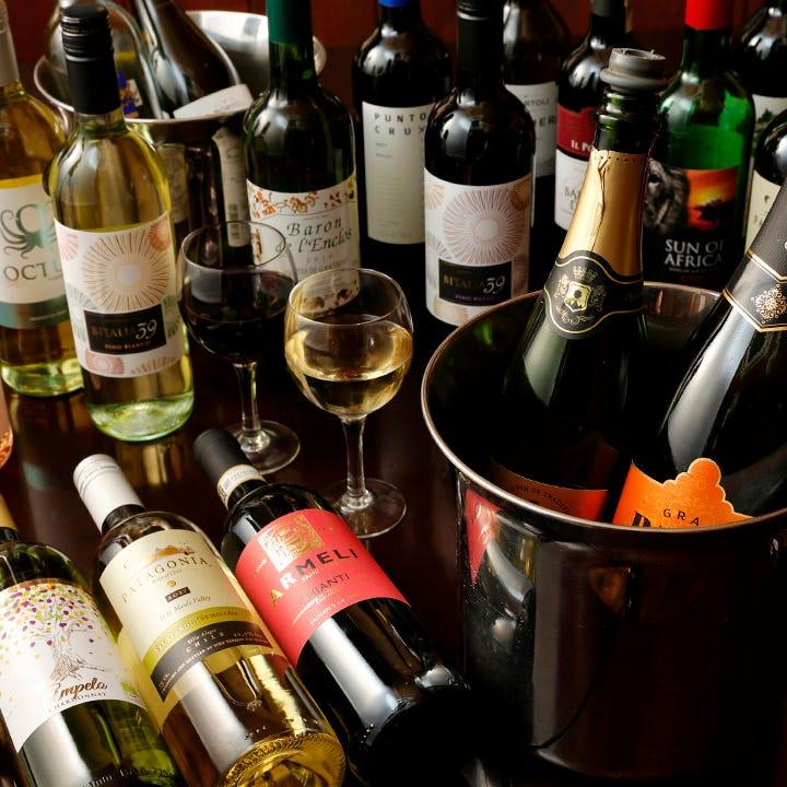 名物は7種が揃うワインビュッフェ