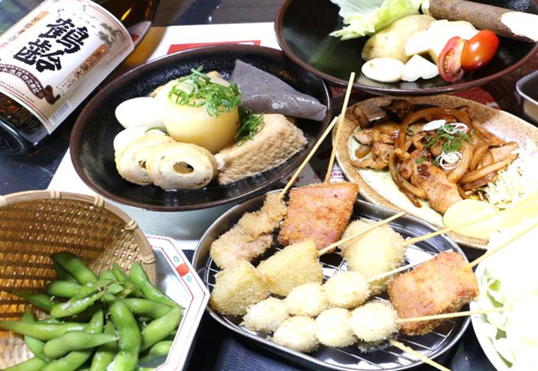【120分コース】サクサク関西風串カツとイカの丸焼きコース【飲み放題付】