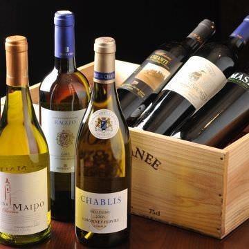 チーズによく合うワイン豊富に取り揃えております。