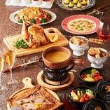 ロティサリーチキン&チーズフォンデュコース  3,500円