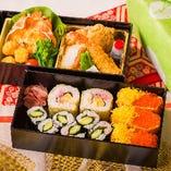 助六寿司+洋食1段【2重弁当】