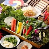 新鮮な千葉産直サンチュ&彩り野菜