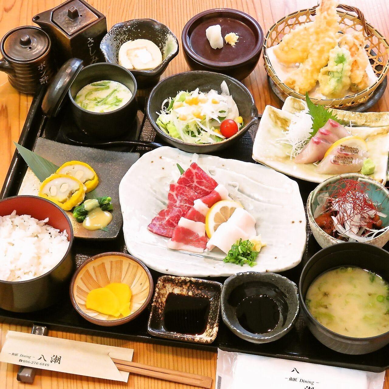 活魚問屋直営店ならではの新鮮魚介と熊本名物をランチで満喫