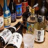 【厳選された美酒】 料理と良く合う日本酒や焼酎がずらり