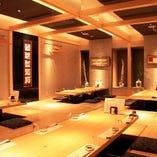 個室を大小完備!最大40名様の宴会も可能。全席掘りごたつで、幅広い層の方に支持されています。
