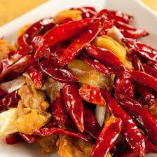 鶏肉の山椒風味唐辛子炒め