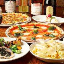 チーズをたっぷり使用した窯焼きピザ