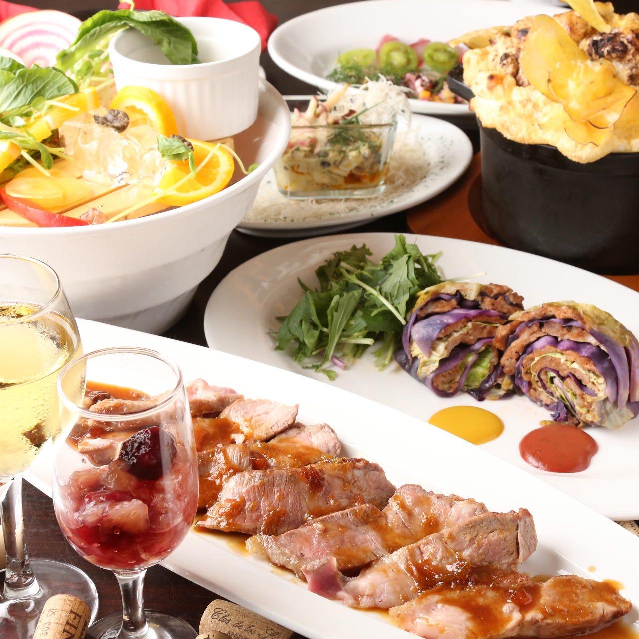 【ぐるなび限定・宴会】~名物の塊肉グリルやデザート付き~豚バルOコース(全10品+2.5h飲み放題付き)