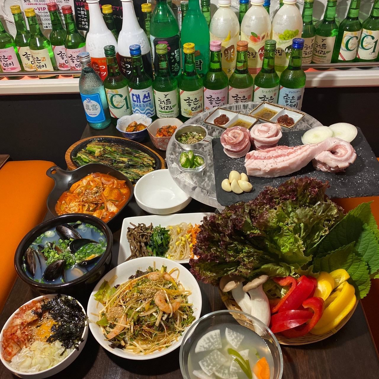 ★他の物とは比べものにならない★熟成肉や旨味が染み込んだ炒飯等〈全10品〉『熟成サムギョプサルコース』4,500円