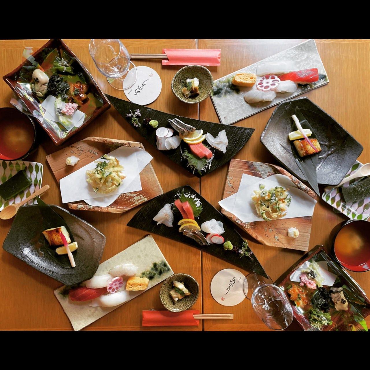 【~朱特別コース~】東北の旬の食材と、職人による本格寿司を楽しめるお料理10品6,800円