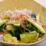 たたき胡瓜の自家製辛味噌和え