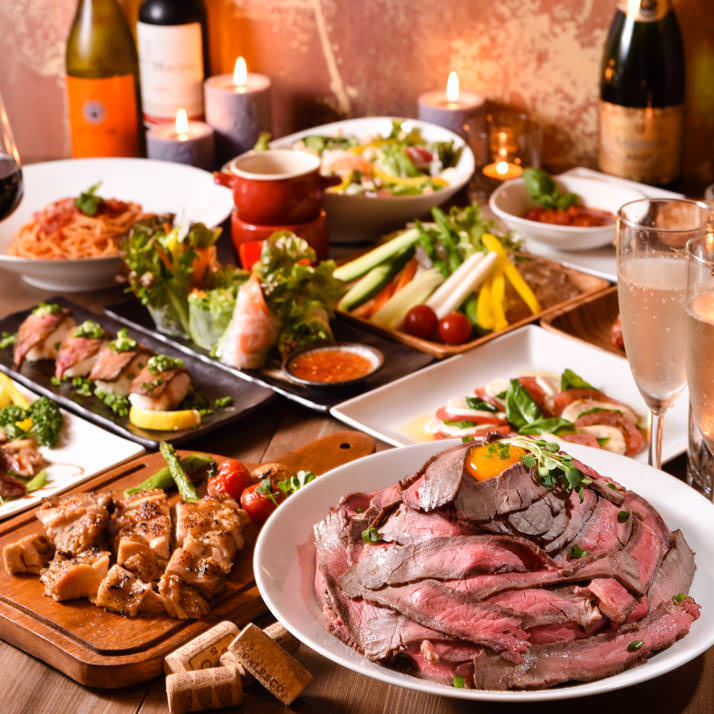 肉バル料理が食べ放題で人気!