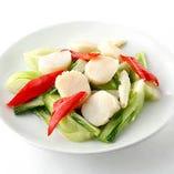 ホタテと青菜炒め