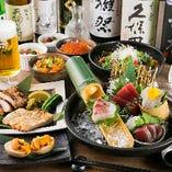 海・山の旬の幸を堪能できる『海山贅沢堪能旬菜コース』<全10品>。2時間飲み放題付ですので歓送迎会や会社宴会、接待に最適