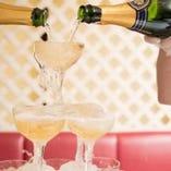 【特典 1】 乾杯用シャンパンタワー(スパークリングワイン)をサービス♪
