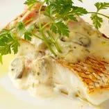 真鯛のポワレ フレシュトマトのソース   爽やかなハーブをちりばめて