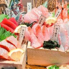 刺盛りや寿司などの海鮮