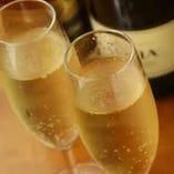 1グループにスパークリングワインプレゼント!10名以上なら大阪の銘酒1升瓶サービス