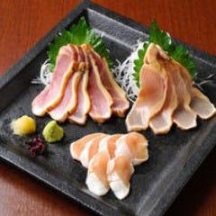 古処鶏刺身三種盛り