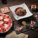 女子会、パーティーなど【Casual course】サラダ・前菜3種・ピザ・パスタ・ドルチェ 全7品¥3,000