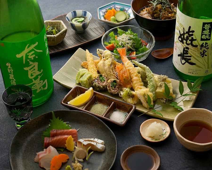 お造り・天ぷら10品と天ぷら茶漬を含むスタンダードコース『つつじ』5,500円(税抜)|飲み会・宴会