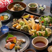 お造り・自慢の天ぷら14品・天ぷら茶漬がついた贅沢コース『なでしこ』7,500円(税抜)|宴会・接待