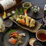コースは3種。お造りと天ぷらを気軽に楽しむふじコースが人気。