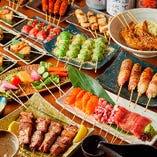 ゲストも驚く前菜からデザートまで全て創作串のコースあります!
