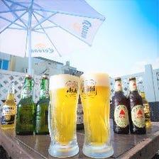 テラスで冷えた生ビールは最高です♪