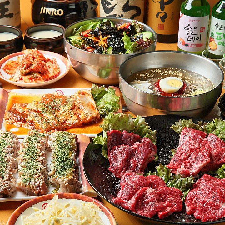 一番人気!大満足の肉肉コースは120分飲み放題付4,500円(税込)