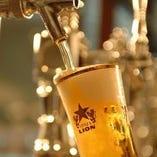 当店自慢のサッポロ生ビール。ビールが苦手な方でも飲みやすい!